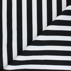 Tissu Gabardine Lycra Marinière - noir x 10cm