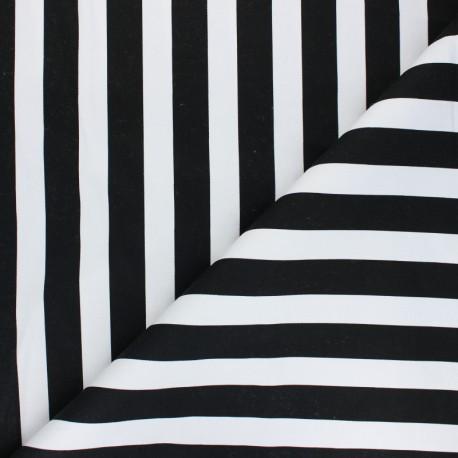 Lycra Gabardine Fabric - black Marinière x 10cm
