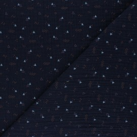 Poppy Double gauze fabric - navy blue Triangle Party x 10cm