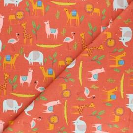 Poplin Poppy cotton fabric - rust red Desert Family x 10cm