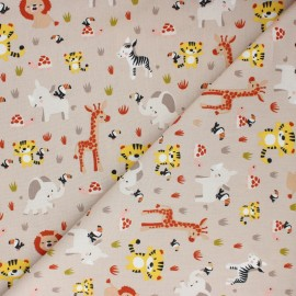 Poplin Poppy cotton fabric - beige Sweet Animals x 10cm