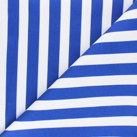 Tissu Gabardine Lycra Marinière - bleu roi x 10cm