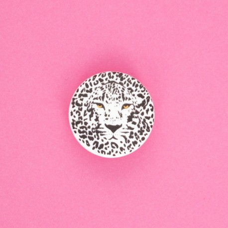 25 mm Polyester Button - white Félin