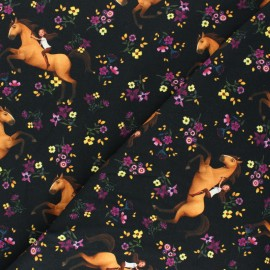 Tissu jersey Spirit Riding Free - noir  x 10cm