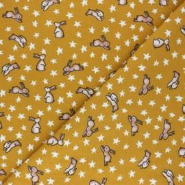 Tissu Flanelle Poppy Sweet Bunny - jaune moutarde x 10cm