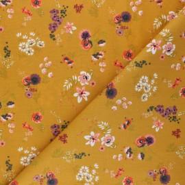 Poplin Poppy cotton fabric - yellow mustard Flowery x 10cm