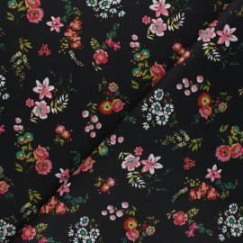 Poplin Poppy cotton fabric - black Flowery x 10cm