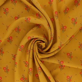 Radiance By Penelope® Viscose fabric - mustard yellow Wild Flowers x 10cm
