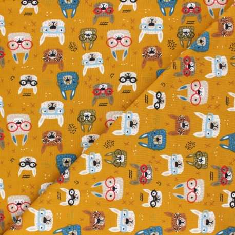 Poppy Jersey fabric - mustard yellow Cool Glasses x 10cm