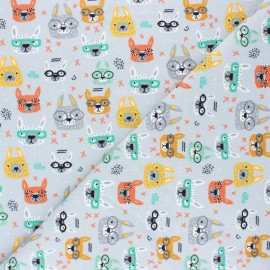 Poppy Jersey fabric - grey Cool Glasses x 10cm