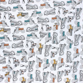 Poppy Jersey fabric - White Construction Vehicles x 10cm