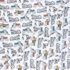 Tissu jersey Poppy Construction Vehicles - Blanc x 10cm
