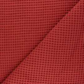 Waffle stitch cotton fabric - orange brick x 10cm