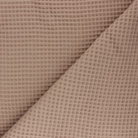 Tissu piqué de coton nid d'abeille - beige x 10cm