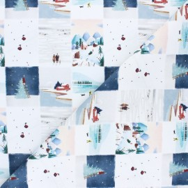 Cretonne Cotton fabric - White Christmas landscapes x 10cm