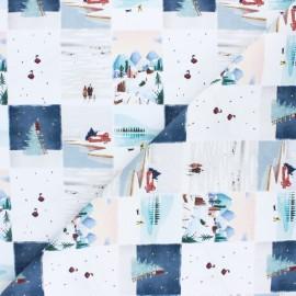 Tissu coton cretonne Christmas landscapes - blanc x 10cm