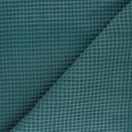 Tissu piqué de coton nid d'abeille - paon x 10cm