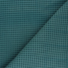 Waffle stitch cotton fabric - peacock green x 10cm