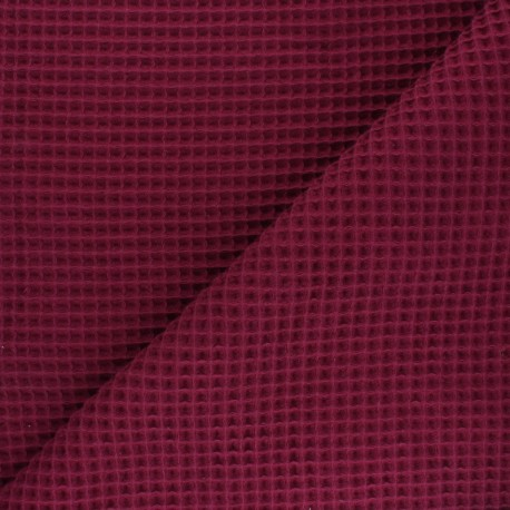 Waffle stitch cotton fabric - burgundy x 10cm