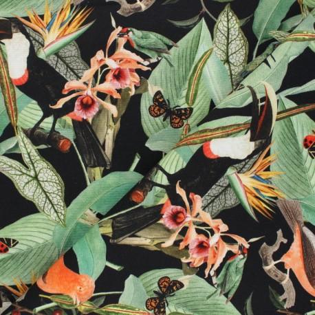Poppy Canvas Cotton fabric - black Jungle Journey x 10cm