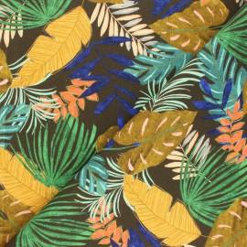 Tissu toile de coton Poppy Tropical Leaves - kaki x 10cm