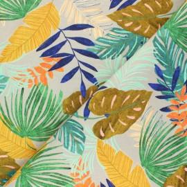 Tissu toile de coton Poppy Tropical Leaves - gris x 10cm
