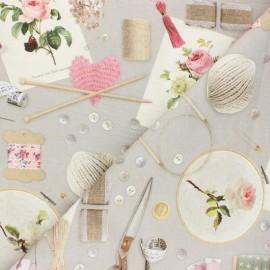 Tissu toile de coton Poppy Let's Craft Together - gris x 10cm