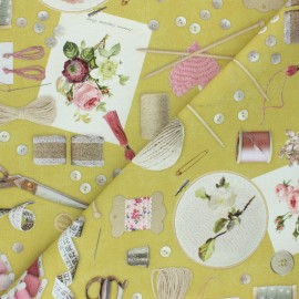 Tissu toile de coton Poppy Let's Craft Together - vert x 10cm