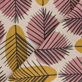 Linen aspect polycotton fabric - mustard yellow Leaves x 10cm