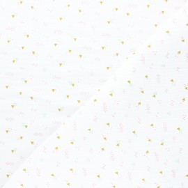 Tissu double gaze de coton Poppy Triangle Party - blanc x 10cm
