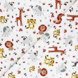 Tissu popeline de coton Poppy Sweet Animals - blanc x 10cm