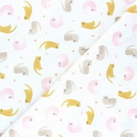 Tissu popeline de coton Dreamy Cats - blanc x 10cm