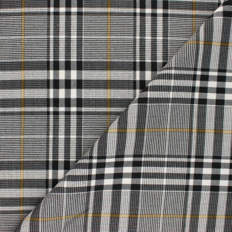 Polyviscose elastane fabric - black and white Carnaby x 10cm