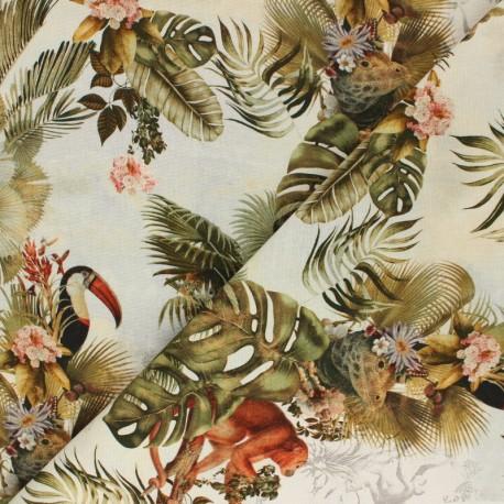 Poppy Canvas Cotton fabric - raw Tropical Journey x 10cm