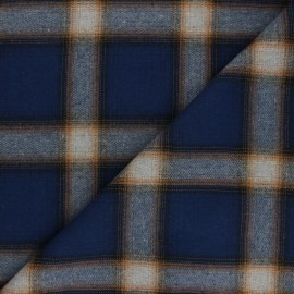 Tissu flanelle à carreaux Perth - bleu x 10cm