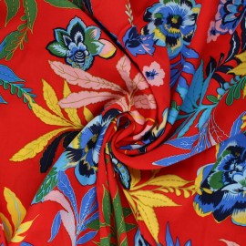 Flowery viscose Fabric - red Flower Pop x 10cm
