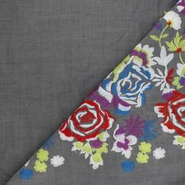 Embroidered viscose voile fabric - grey Leonie x 10 cm