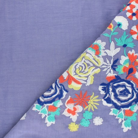 Embroidered viscose voile fabric - blue Leonie x 10 cm