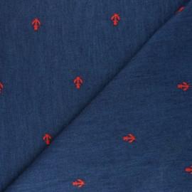 Tissu coton chambray brodé Ancre - bleu x 10 cm