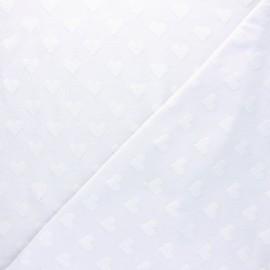 Tissu jersey coeur relief - blanc x 10cm