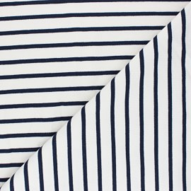 Tissu Sweat léger rayé bleu marine - écru x 10cm