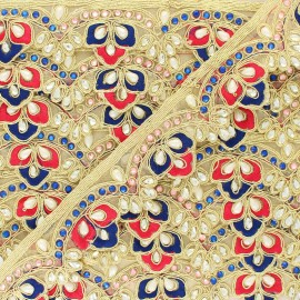 Braid Trimming, India Royal x 50cm - Blue/pink
