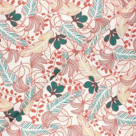 Cretonne cotton Fabric - coral pink Poyo x 10cm