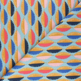 Cretonne cotton Fabric - blue Gofao x 10cm