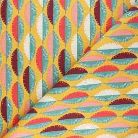 Cretonne cotton Fabric - mustard yellow Gofao x 10cm