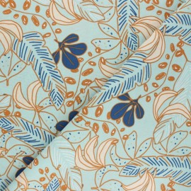 Cretonne cotton Fabric - blue Guzalor x 10cm