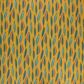 Coated cretonne cotton fabric - mustard yellow Cojoa x 10cm