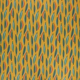 Tissu coton cretonne enduit Cojoa - moutarde x 10cm