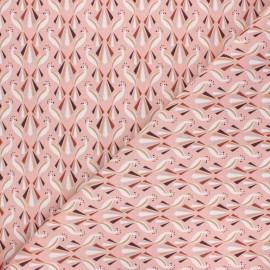 Tissu coton cretonne Paon - rose x 10cm