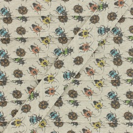 20 mm Cotton Bias Binding - Beige Insects x 1m